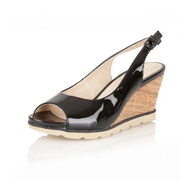 d846aaf0f3 Maron Black Patent Leather Sling-Back Wedge Sandals