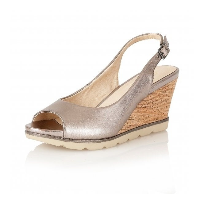 87a9c3ab6e Maron Pewter Leather Sling-Back Wedge Sandals