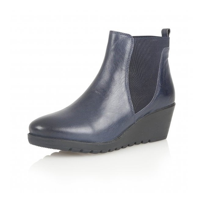 Meryl Blue Leather Wedge Ankle Boots