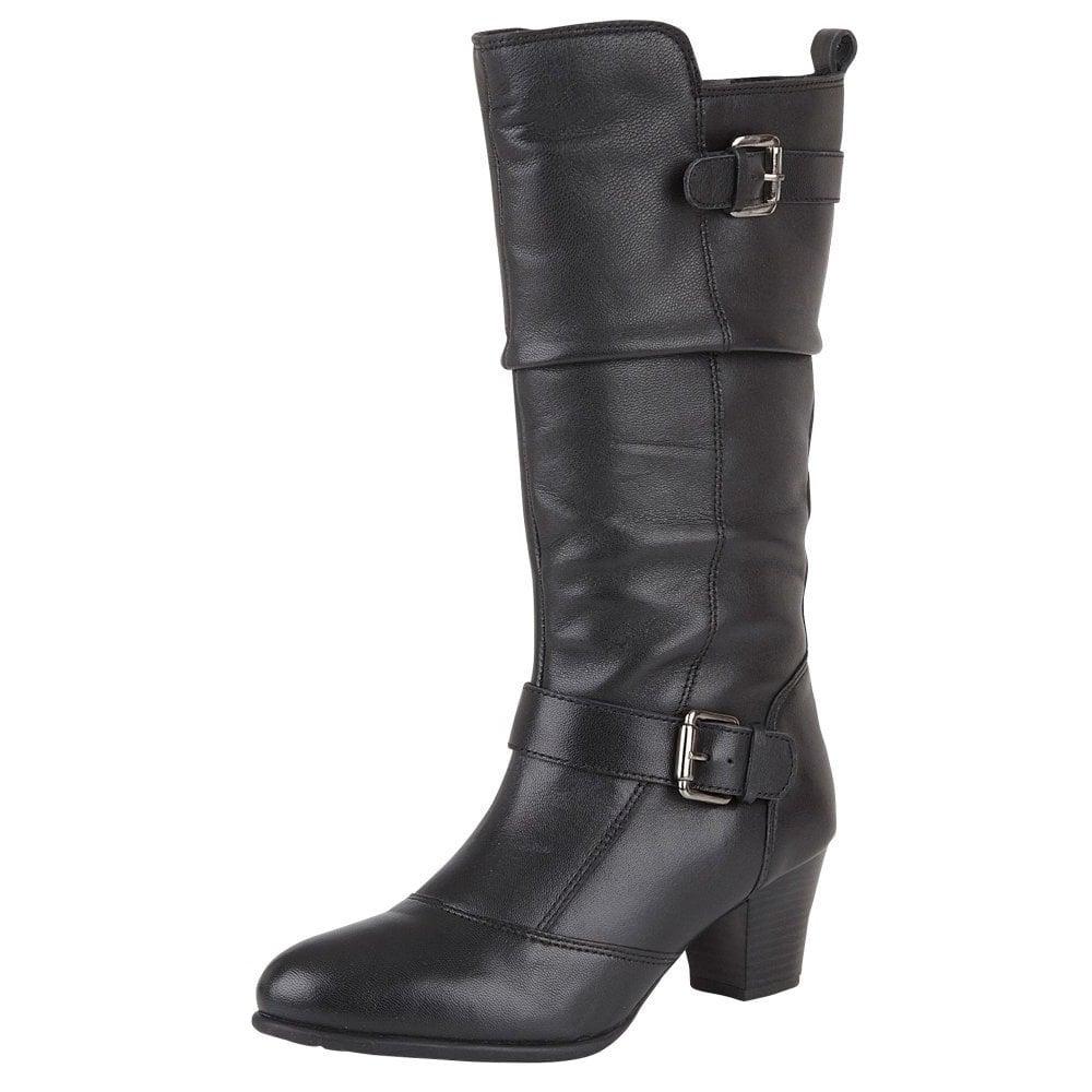 Miriam Black Leather Mid Calf Ladies Boot