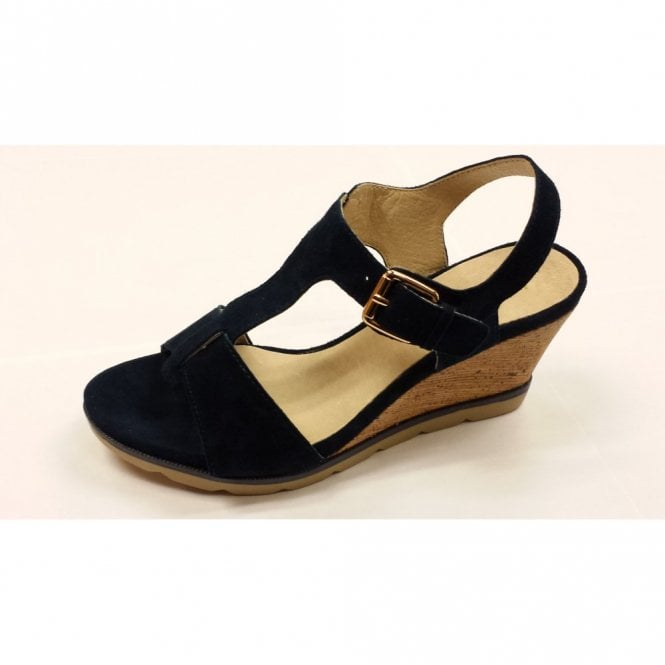 Buy Authentic fashion styles best collection Lotus Mirror Navy Suede Open-Toe Wedge Sandals