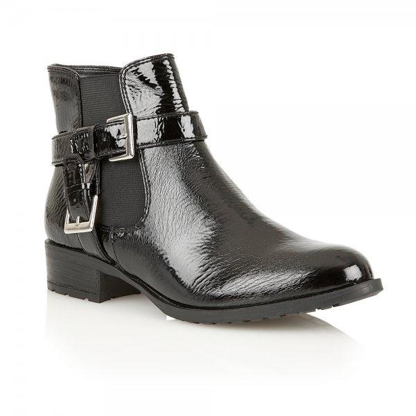 Monroom Black Crinkle Patent Ankle Boot