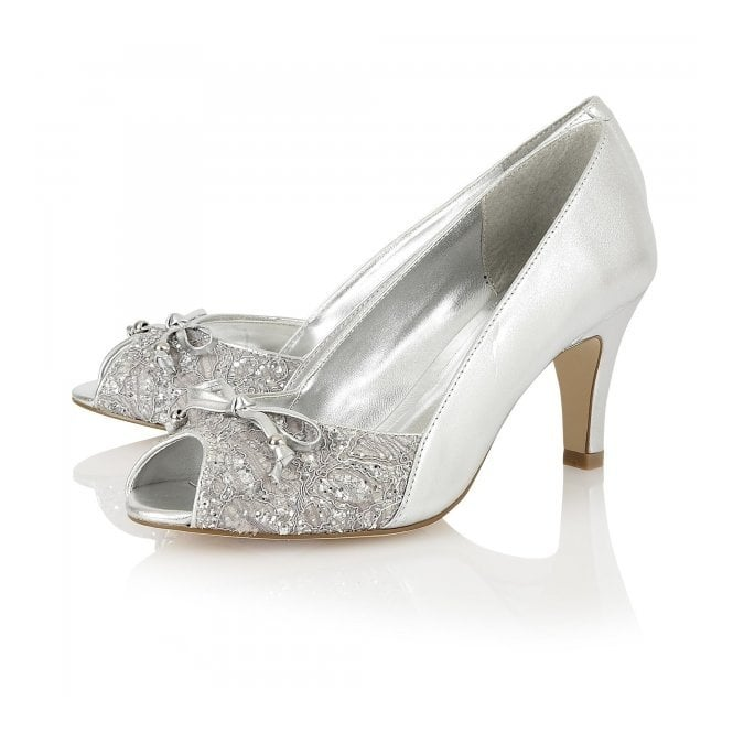 a0cb103597592 Nicoletta Silver Leather & Print Peep Toe Court Shoes