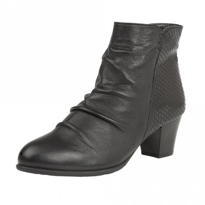 Punata Black Print Leather Ruched Ankle