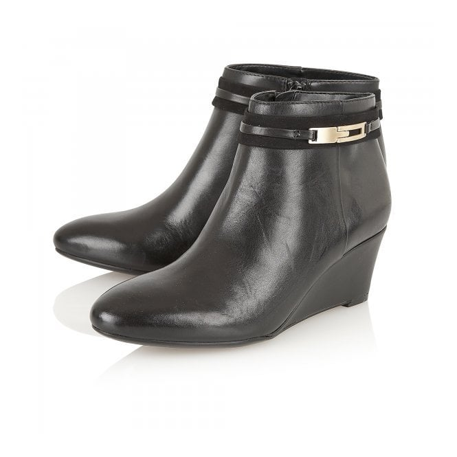 Quimby Black Leather Wedge Ankle Boots