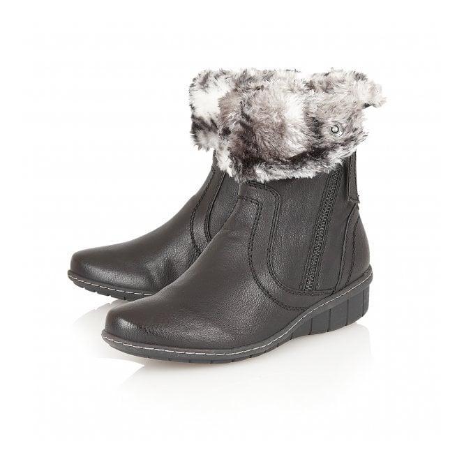 b6a156679d62a Relife Virkat Black Fur-Lined Ankle Boots