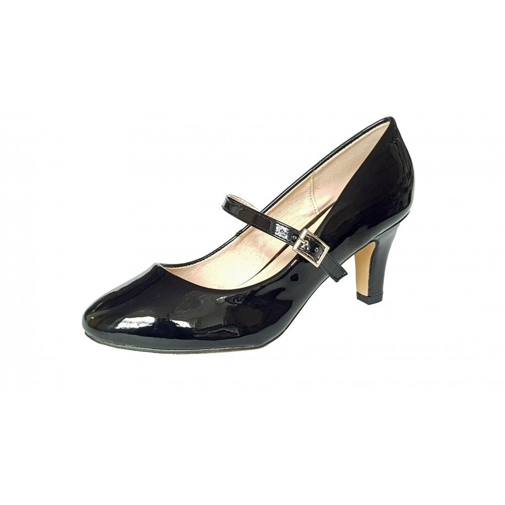 Savannah Black Shiny Mary-Jane Court Shoes