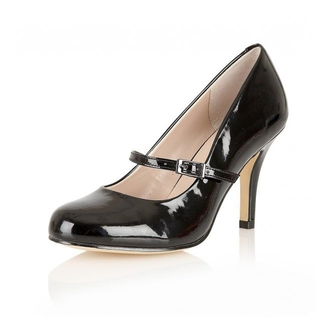Serenoa Black Shiny Mary-Jane Court Shoes