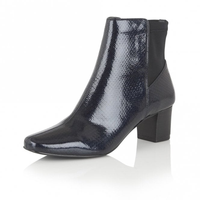 Lotus Swallow Navy Shiny Snake Ankle Boots