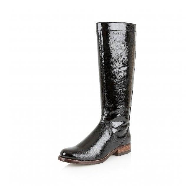 Typhoon Black Crinkle Shiny Knee-High Boots