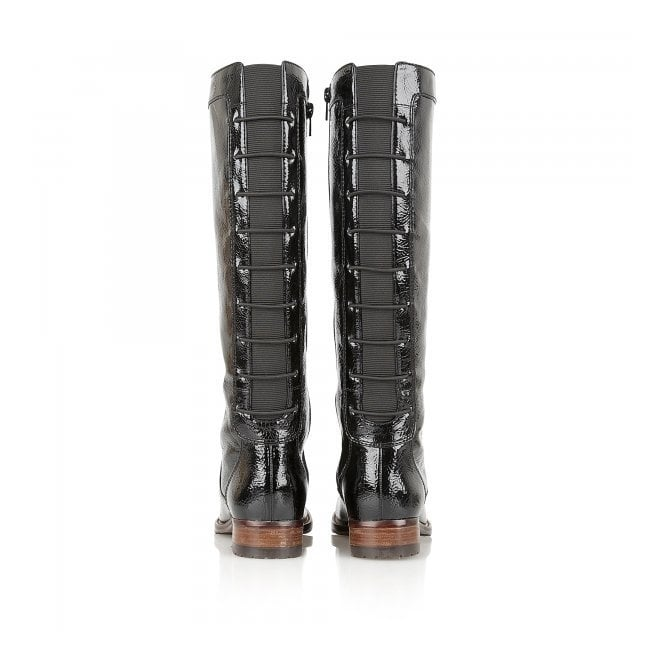 efe2318c0b8 Typhoon Black Crinkle Shiny Knee-High Boots