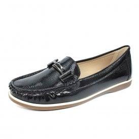 a51a1391ed4 Cayson FLH098 Black Patent Maccasin Shoe