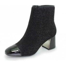 4201bcf2d8c Duval GLE069 Black Patent   Glitter Ladies Ankle Boot