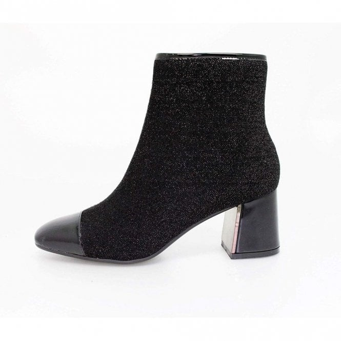 381780e04233 Duval GLE069 Black Patent   Glitter Ladies Ankle Boot