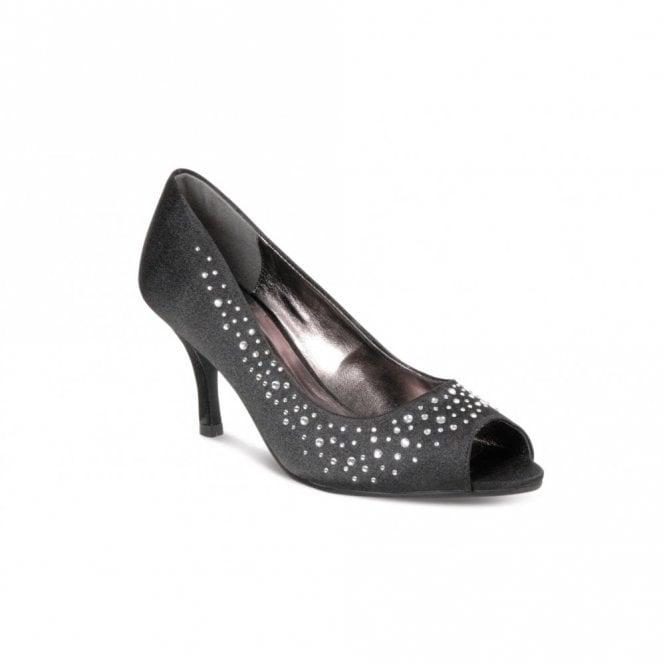 9b6273f0612 Lunar FLV239 Black Satin Shoe with Diamante - Ladies from Crichton ...