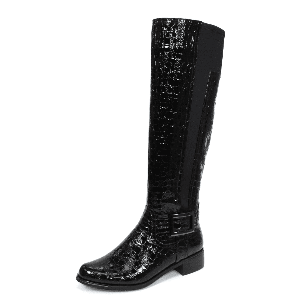 Kizzy GLC717 Black Patent Croc Ladies Boot