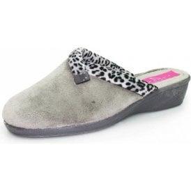 16d35a79eb7 Michelle KLA007 Grey Wedged Mule Slipper