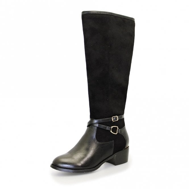 Black Synthetic Leather Ladies Boot