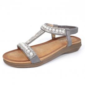 b052b0da24d1 Tancy JLH078 Grey Pearl Sandal with Diamonte Trim