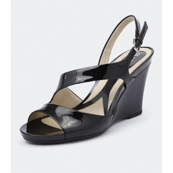 Bandelle Black Patent Wedge Sandal