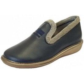 8ce6f5786e2 305 Ohio Navy Leather Ladies Slipper