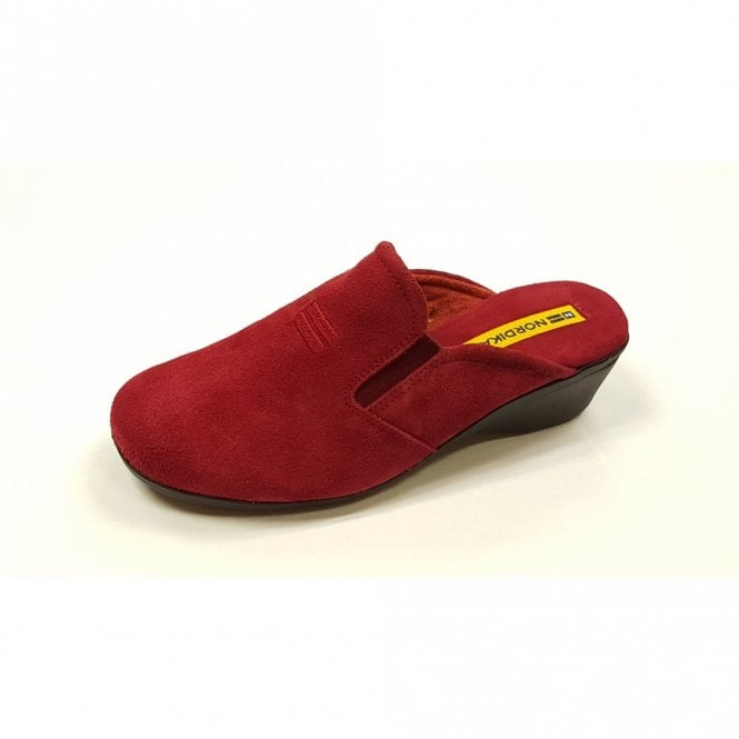 4cb515b80f807 8192 Afelpado Red Suede Leather Wedge Mule Ladies Slipper