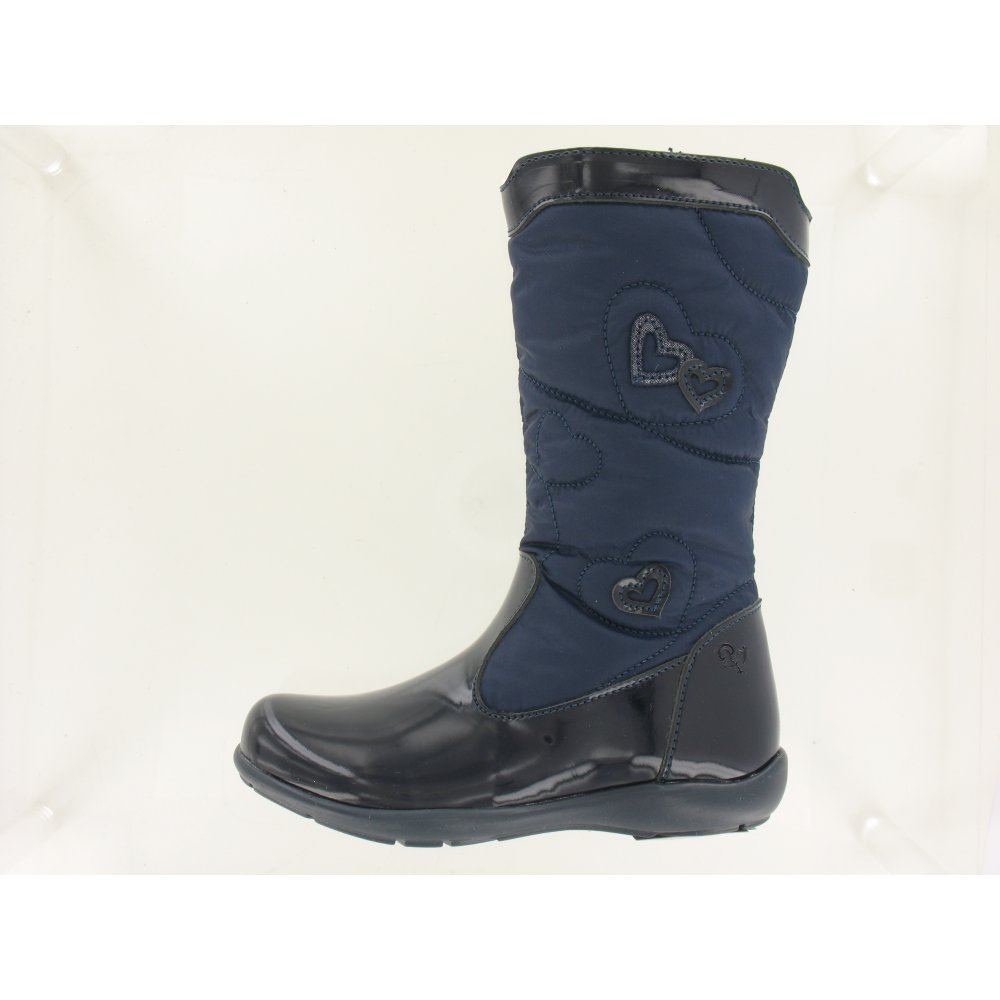 Khristel Navy Patent Girl's Boots