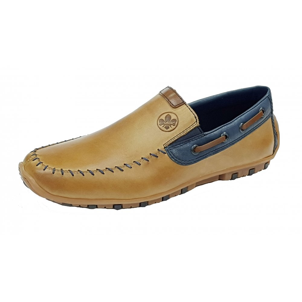 808d6804 08970-25 Toffee / Navy Leather Mens Loafer Shoe