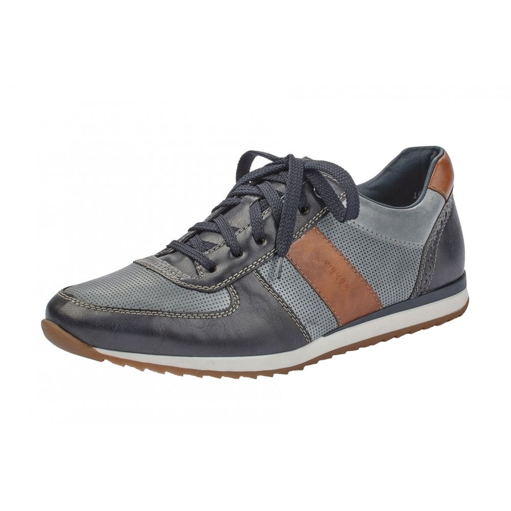 3ff953ebfccb1 19331-14 Navy Leather Casual Lace Up Shoe
