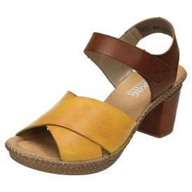 790fbeb00d 665H1-68 Yellow / Tan Leather Ladies Sandal · Rieker ...