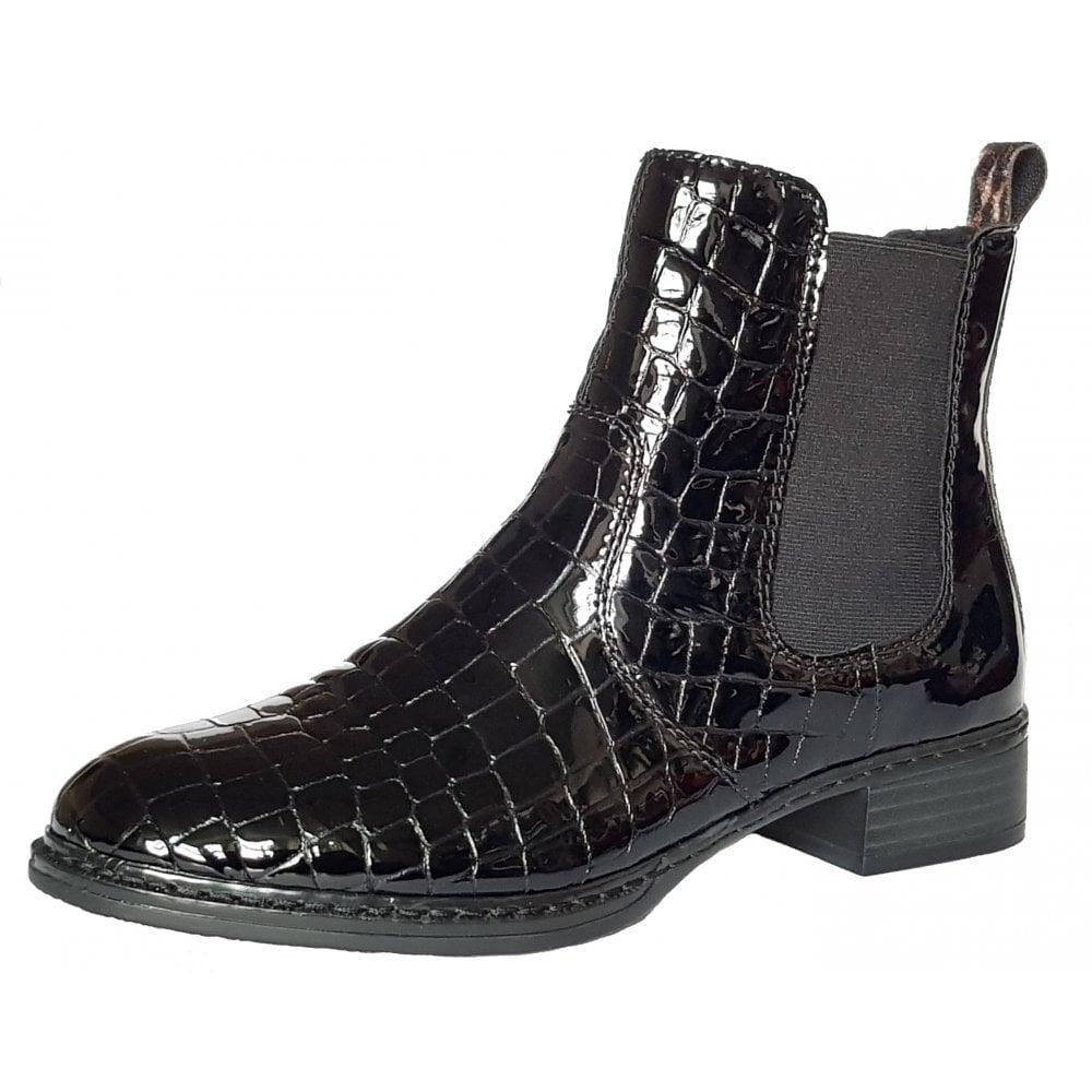 Black Patent Croc Ladies Chelsea Boot