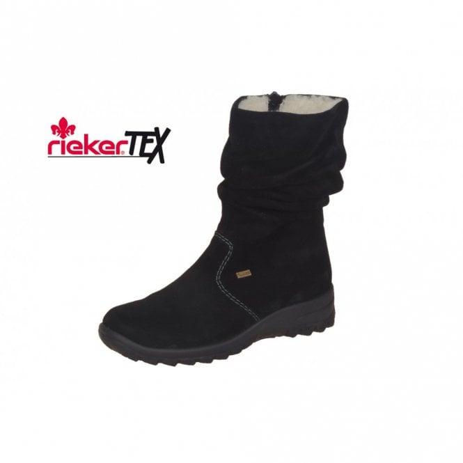 low priced cfc46 14683 Rieker Eike Z7171-01 Black Suede Waterproof Boot