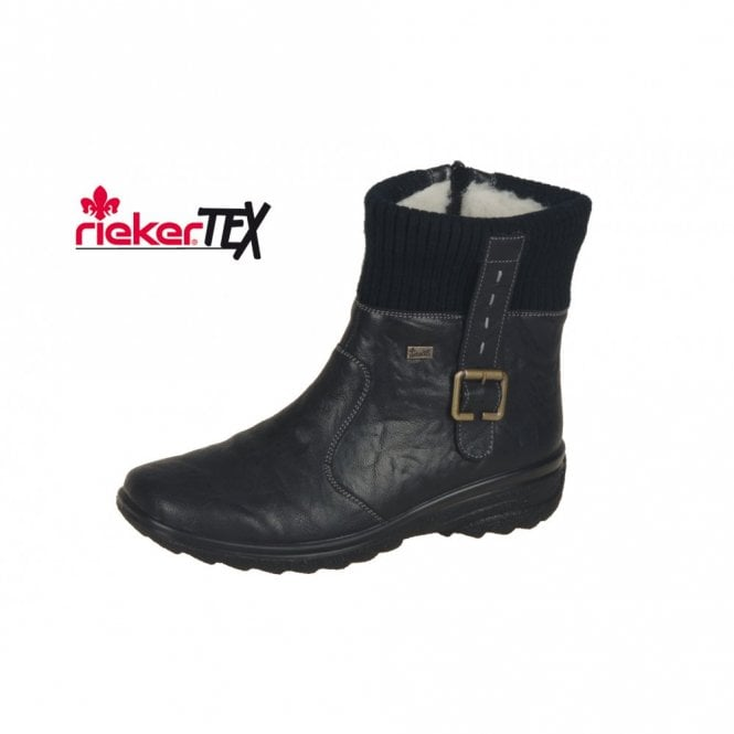 c90b56b3f3a Rieker Hillary Z7054-00 Black Leather Waterproof Ankle Boot - Ladies ...