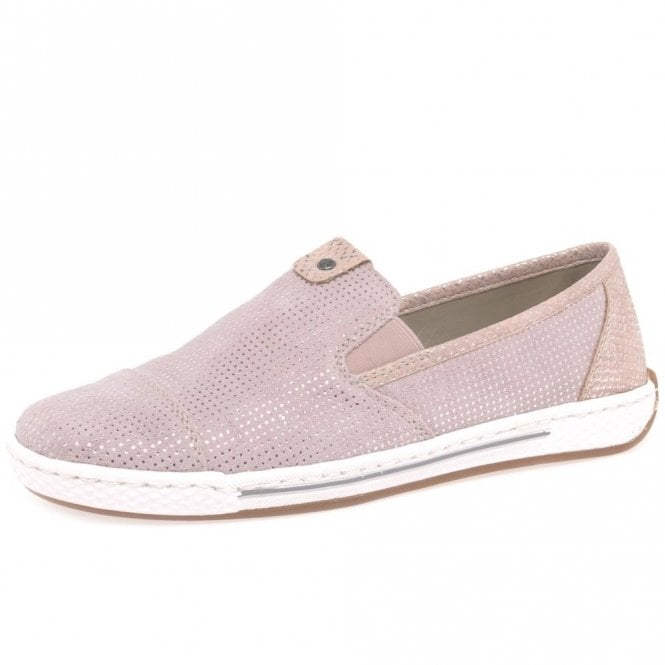 62d63682c4a L3051-31 Pink Suede Leather Ladies Slip On Shoe