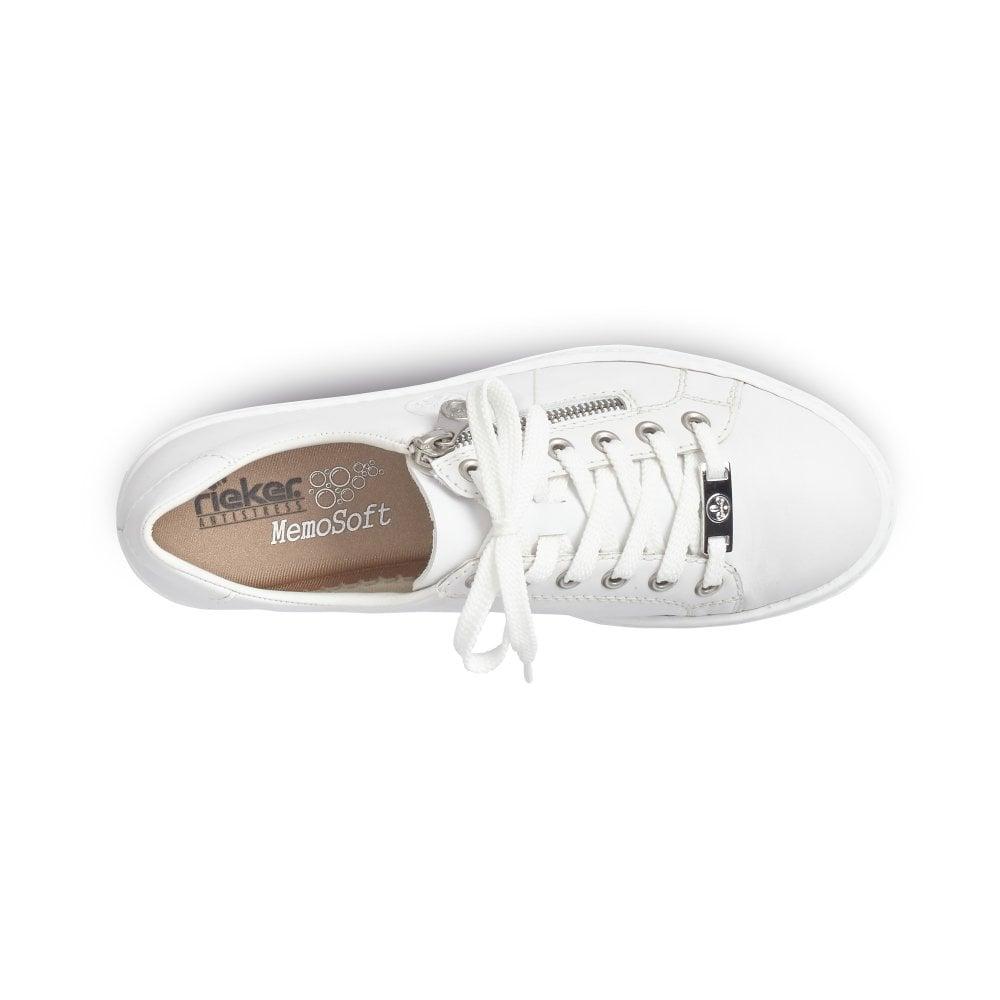 L59L1-80 White Leather Lace Up Ladies