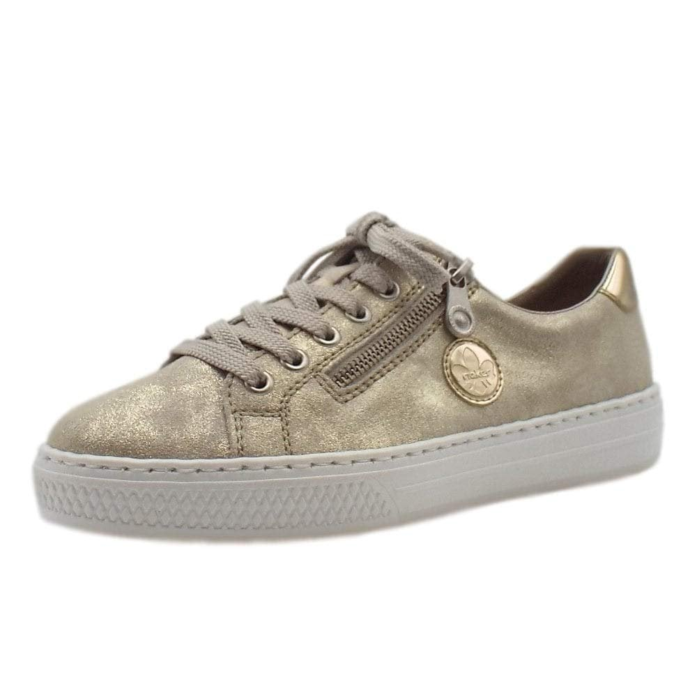 Beste Promo-Codes zahlreich in der Vielfalt Rieker L59L8-62 Beige / Gold Metallic Lace Up Ladies Shoe
