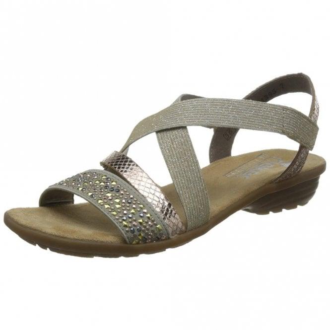 1bfc55d7ea1 V3463-60 Beige Combination Sandal with Beaded Trim