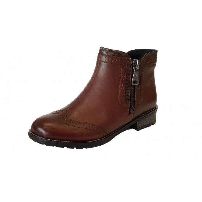 Brown Y3361 Boot Ladies 22 Brogue Leather Ankle vcgSAUy
