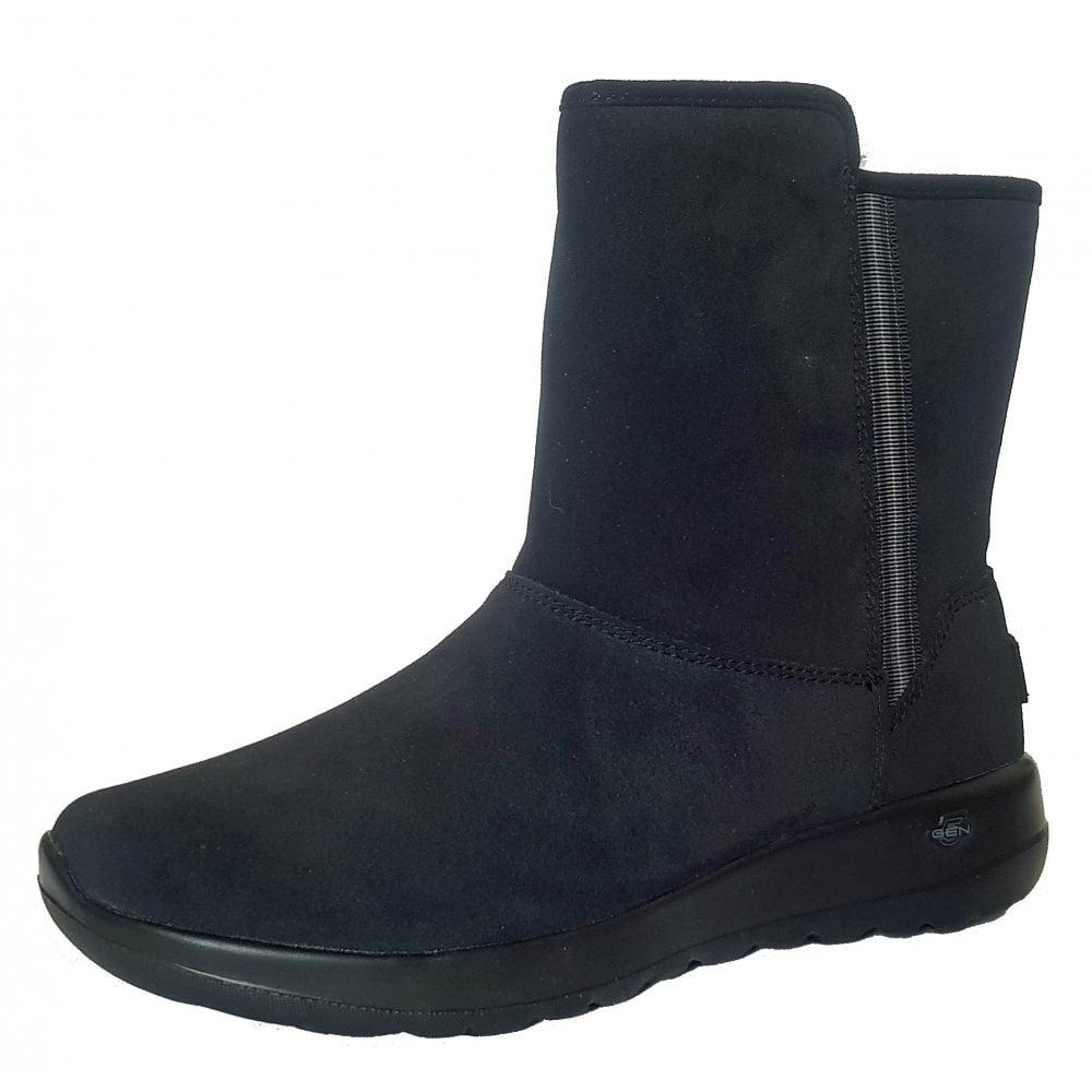 On the GO Joy Cadet Black Suede Ladies Ankle Boot
