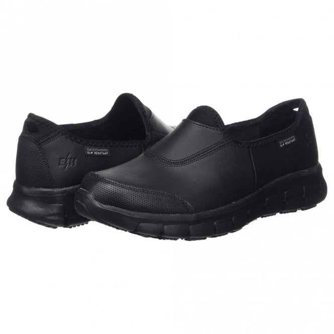 c4a3d0d0b99d Work  Relaxed Fit - Sure Track Black Leather Ladies Work Shoe
