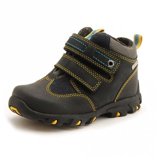 67006e709 Aqua Trek Navy / Yellow Leather Waterproof Velcro Boys Boot