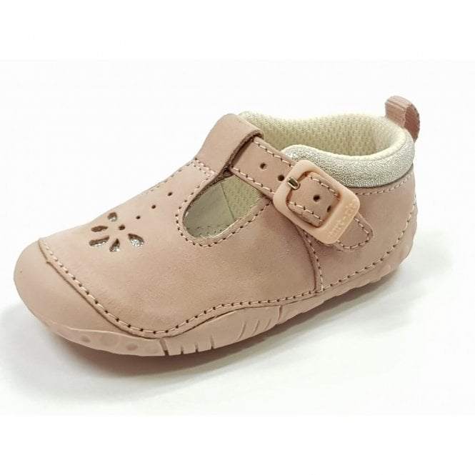 0fac6399a99d1 Baby Bubble Pink Nubuck Leather Girls T-bar Pre-walkers