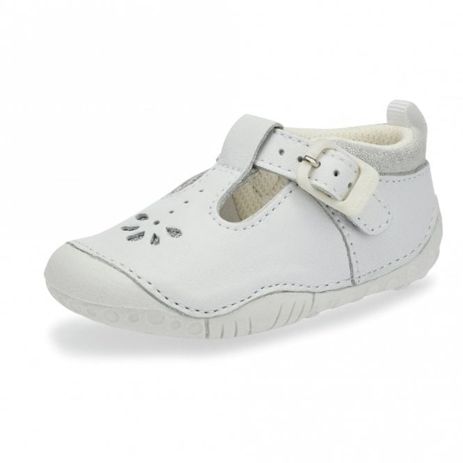 d389a2b7d2792 Baby Bubble White Leather Girls T-bar Pre-walkers