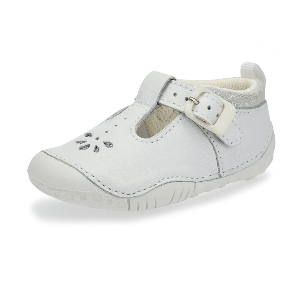 Baby Bubble White Leather Girls T-bar