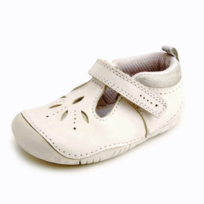 145e463873019 Polly White Leather Girls T-bar Pre-walkers