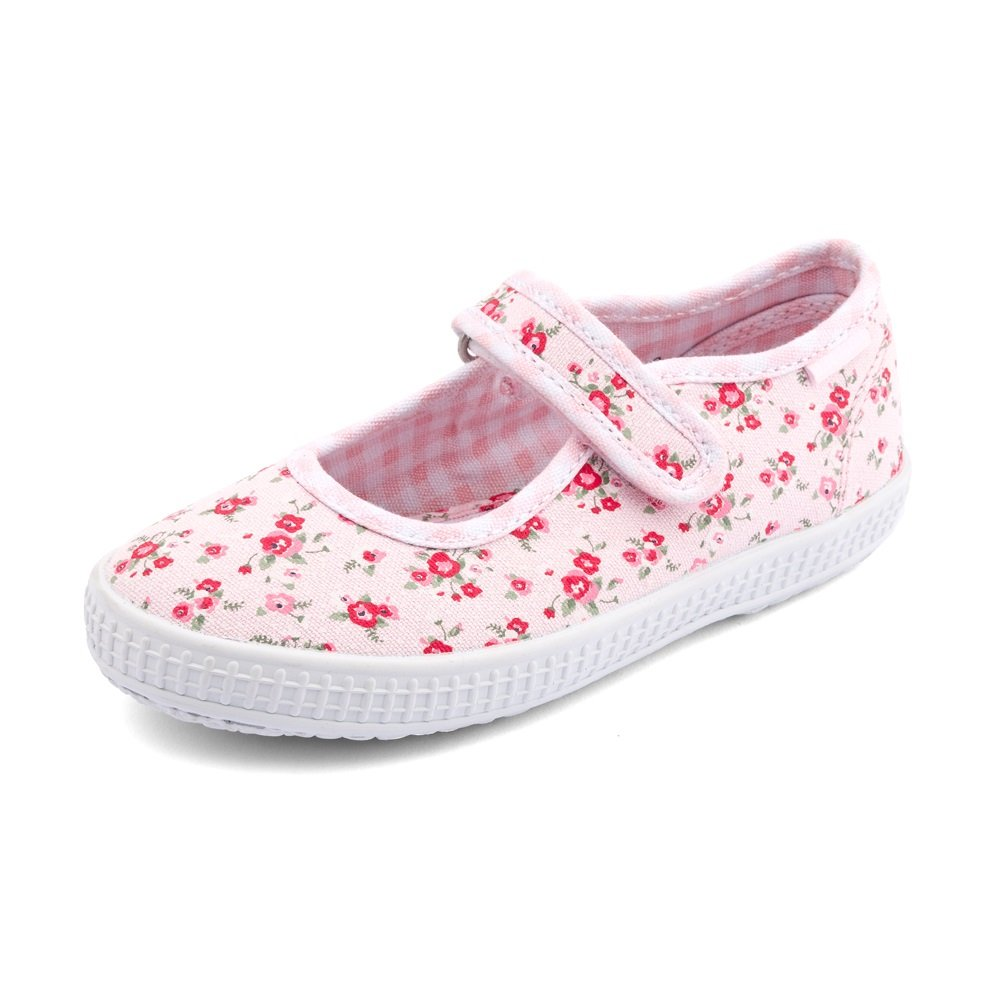 Posy Girl's Pink Floral Canvas Shoe