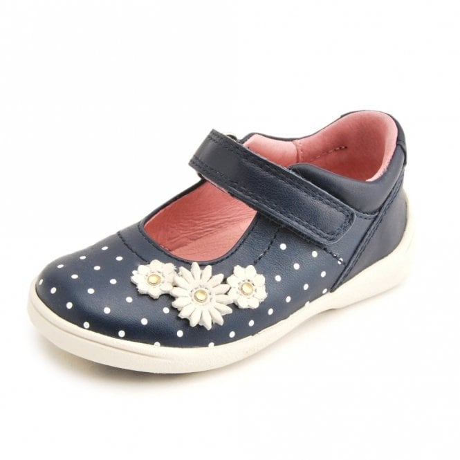 8b111661b657d SR Supersoft Daisy Navy Leather Girl's Shoe