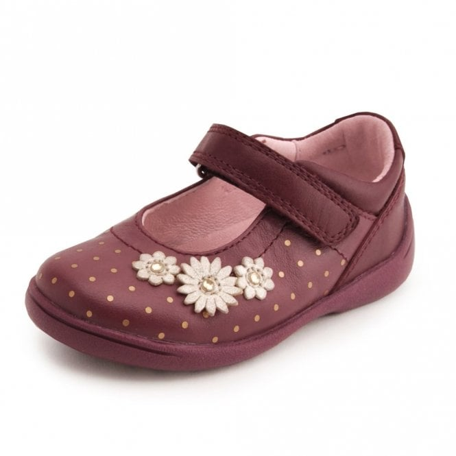 44f66a6927be7 SR Supersoft Daisy Wine Leather With Gold Spots Girl's Shoe