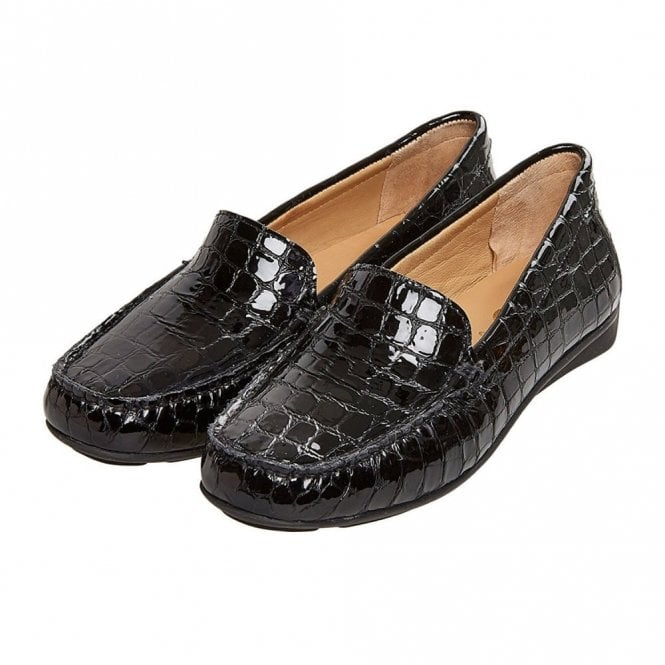 Albany Black Patent Loafer Moccasin Shoe 85f23cb38