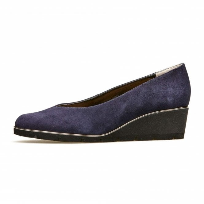 cce63372d3 Ariah Navy Midnight Suede Wedge Shoe